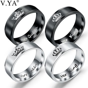 V.YA Romantic Jewelry Her King His Queen Couples Crown Rings Fashion Retro 316L Titanium Steel Wedding Rings for Women Men Charm