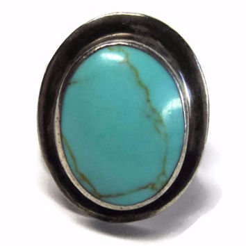 Bold Vintage Mexican Sterling Turquoise Ring Size 8