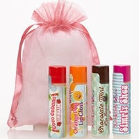 Natural and Organic Fun Flavored 3Girls Holistic Lip Balm 4 Pack - Chocolate Mint, Orange Pop, Coco Cabana, Simply Shea