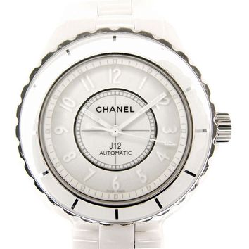 Auth CHANEL J12 White Phantom H3443 Automatic Men's Wristwatch Limited Rare