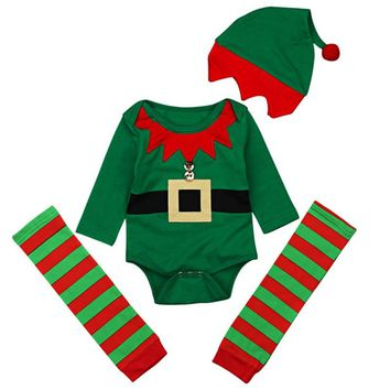 Green Baby Christmas Sets New Baby Boys Girls New Year Santa Costume Long Sleeve Romper Leg Warmer Hat Bebes Cute Clothing Suits