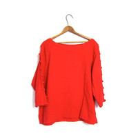 Vintage Cut Out Red Basic Tee Shirt Quarter Length Open Sleeves Boxy Cropped Simple Everyday Scoop Neck Plain Cotton Top Womens Large