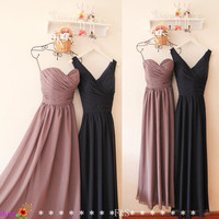 Grey Bridesmaid Dress A-line Simple Long Navy by FashionStreets