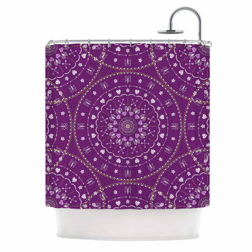"Cristina bianco Design ""Purple Mandalas"" Purple Geometric Shower Curtain"