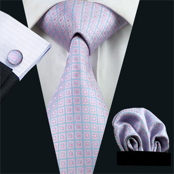 Gents Necktie Pink Plaid 100% Silk Jacquard Tie Hank Cuff links Set Business Wedding Party Ties For Men