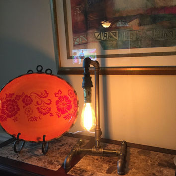 Steampunk Lamp - Industrial Pipe Lamp - Vintage Edison Bulb - Steampunk Light - Pipe Lamp - Industrial Light - Stean Punk - Desk Lamp