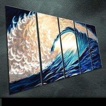 Original Art Abstract blue wave /Tempestuous waves Special Modern Metal Painting Sculpture Wall Indoor Outdoor Decor