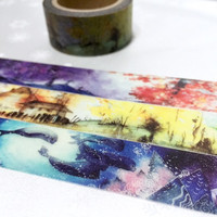 Fancy scenes washi tape 10m x 2cm Autumn landscape northern lights sea scenes masking tape four seasons Landscape colorful deco tape gift