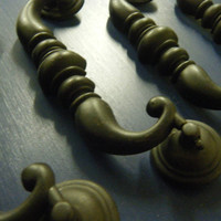 Oversized Pull /  Dark Oil Rubbed Bronze Drop Pull / Ornate Handle / Rustic Furniture Decor Hardware