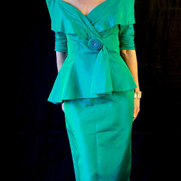 1980's Green Blue Formal Mermaid Peplum Prom Dress