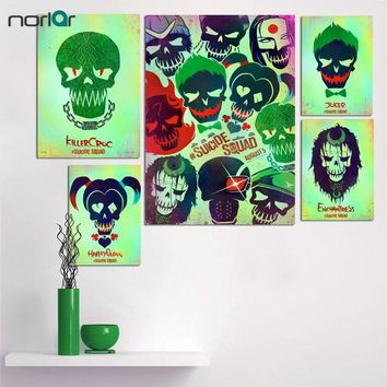 Giclee Poster Print On canvas Harley Quinn Joker Suicide Squad Skull Pop Poster Canvas Painting Wall Art Decorations No Frame
