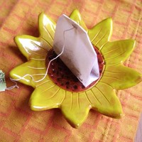 Sunflower Ceramic Madge Dish, bowl, catchall, jewelry, ring holder, decor, soap dish, candle holder, teabag holder, spoonrest.