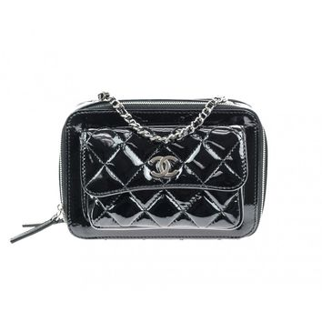 Chanel Black Quilted Patent Leather Mini Camera Bag