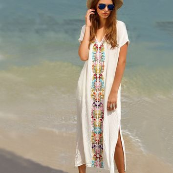 Women's Colorful Cotton Embroidered Turkish Kaftans Beachwear Bikini Cover up Dress