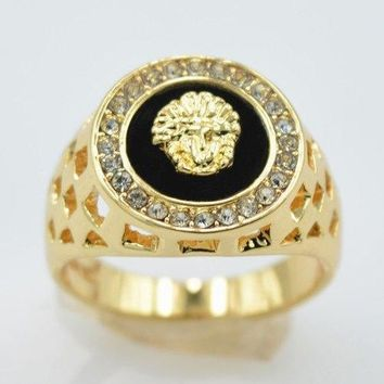 Rhinestone Embossed Lion Head Hollowed Ring - Golden One-size