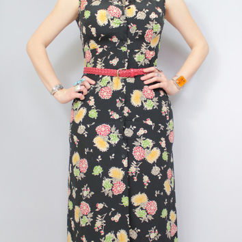 40s Style - Floral Mums - Novelty Print - Sleeveless - Button Down - Collar - Maxi Dress - 90s