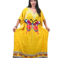Kaftan Dress Butterfly Printed Yellow Maxi Beach Coverup Summer Maxi Caftan XXL: Amazon.com: Clothing