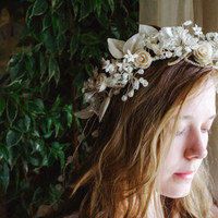 Antique Wax Crown / 1920's Delicate Floral Head Dress, Ivory Wax Flowers / Unique Bridal Blossom Headpiece, OOAK Wedding Tiara with Tail