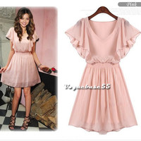 Woman Girl Sexy Party Summer Short-sleeve Elasticized Waist Mini Chiffon Dress