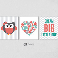 Printable Nursery Wall Art, Owl, Heart Love, Dream Big Little One, Instant DOWNLOAD Nursery Decor, Baby Girl, Set of 3 8x10 JPG files