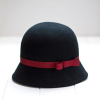 Balmoral - Black Cloche Hat with detail of dark red ribbon