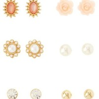 Gold Rose & Pearl Stud Earrings - 6 Pack by Charlotte Russe
