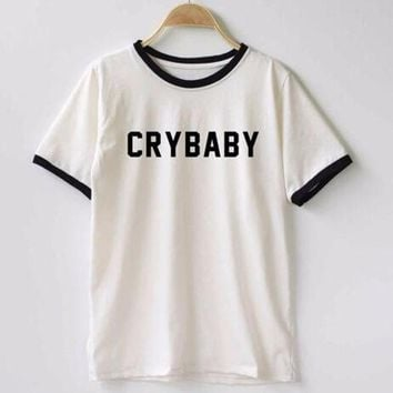 ICIK7HQ Cry Baby  Cotton T Shirt