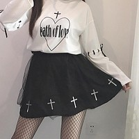Dark Lolita CROSS Print Skirt