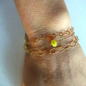 Great Color Play Ethiopian Welo Opal Solitaire Bracelet or Anklet 925 Sterling Silver Gold Fill 14k Gold Fill Chain Handmade Jewelry