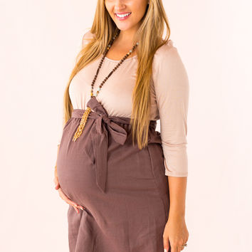 Actually Adorable Maternity Dress in Mocha
