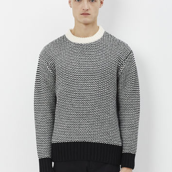 Totokaelo - AMI Alexandre Mattiussi Black / Off White Two Tone Blend Knit - $200.35