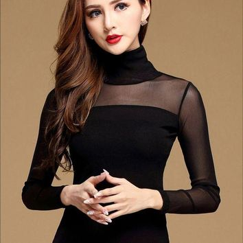 DCCKWQA New Women Blouse Shirt Black White Sexy Long Shirt Casual Long Sleeve Lace Blouse Under Shirts Hollow Tops For Woman Plus Size