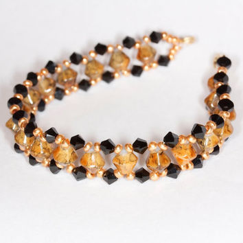 Glass beaded bracelet Handmade bracelet Swarovski bracelet Swarovski jewelry Brown beaded bracelet Swarovski beaded bracelet