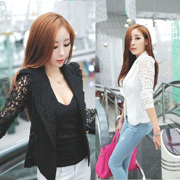 Ulamore Women Long Sleeve Lace Crochet Blazer Small Jacket = 1919917188