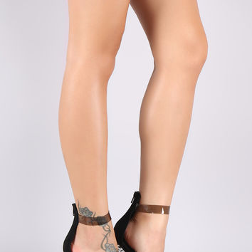 Wild Diva Lounge Suede Triple Clear Straps Chunky Lucite Heel