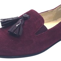 Naturino Girl's and Boy's 9203 Red Smooth Suede Upper Tassel Slip On Moccasin Flats Shoes