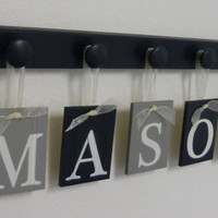 Navy and Gray Baby Boy Nursery Decor Name Sign Set Includes Personalized Alphabet Wall letters with 5 Wooden Pegs. Custom Order MASON