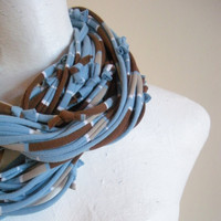 Pastel Blue Brown Striped Infinity Scarf Upcycled Clothing Boho Cowl Scarf Eco Friendly Circle Loop Scarf Spring Fashion