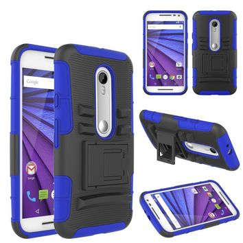 Motorola Moto G (2015) | XT1540 | XT1548 Case, Hybrid Dual Layer Armor[Shock/Impact Resistant] Case Cover with Built-in Kickstand for Motorola Moto G (2015) - Blue