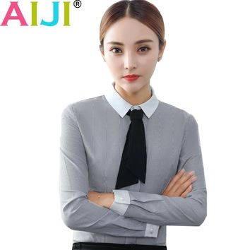 Long sleeve blouse women OL elegant stripe bow tie turn-down collar formal chiffon shirts plus size ladies office work wear tops
