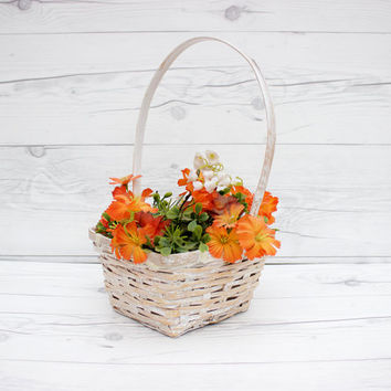 Vintage White Wicker Woven Square Decorative Easter Basket | Rustic, Country, Farmhouse Style