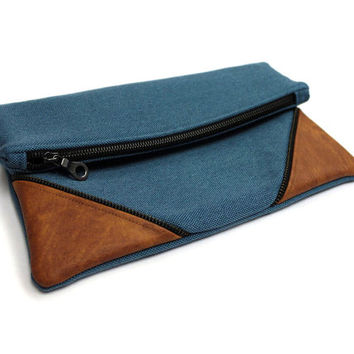 Blue Fold Over Clutch Bag, Day Clutch Purse, Blue Green Clutch, Foldover Purse Bag,Spring Folded Clutch,Leather Accent Bag,Large Blue Clutch