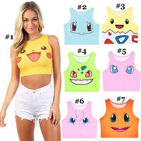 Harajuku Pokemon Cosplay Lolita Girls Camisole Crop Tops Vest Tank Tops Shirt Blusa Sexy Summer Clothes