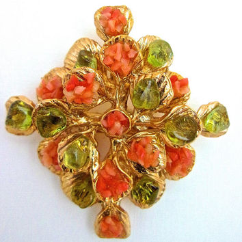Pink Coral & Peridot Brooch-Pendant, Gold Tone, Vintage