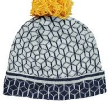 Blue Pattern Beanie Hat with Yellow Pompom