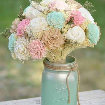 Custom Large Wedding Bridal Bouquet Sola Flowers and dried Flowers PInk, Ivory, Tan and Mint