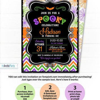 Halloween Party Invitations - Halloween Birthday Party Invitations - Halloween Invitations - Kids Halloween Party Invite - INSTANT ACCESS!