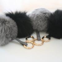 13 cm Luxury Limited Edition Genuine Rabbit fur ball plush keychain or bag pendant BLACK