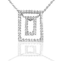 Sterling Silver CZ Rectangle Pendant