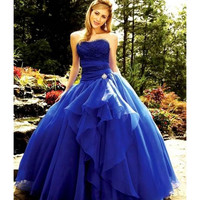 2016 Royal Blue Strapless Ball Gown Lace Up Prom Dresses Off the Shoulder Long Formal Prom Gowns vestidos de baile ballkleider